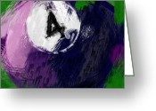 Balls Digital Art Greeting Cards - Number Four Billiards Ball Abstract Greeting Card by David G Paul