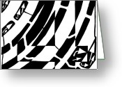 Learn To A Maze Greeting Cards - Number Four Maze Greeting Card by Yonatan Frimer Maze Artist