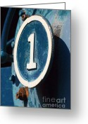 Number Circle Greeting Cards - Number One Industrial Greeting Card by ArtyZen Studios