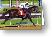Horserace Greeting Cards - Number One Racing Greeting Card by Clarence Alford