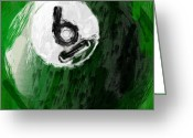 Balls Digital Art Greeting Cards - Number Six Billiards Ball Abstract Greeting Card by David G Paul