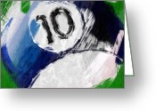Balls Digital Art Greeting Cards - Number Ten Billiards Ball Abstract Greeting Card by David G Paul