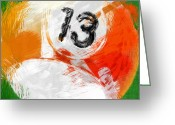 Balls Digital Art Greeting Cards - Number Thirteen Billiards Ball Abstract Greeting Card by David G Paul