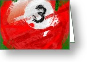 Balls Digital Art Greeting Cards - Number Three Billiards Ball Abstract Greeting Card by David G Paul