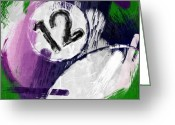 Number 12 Greeting Cards - Number Twelve Billiards Ball Abstract Greeting Card by David G Paul