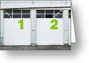 Maintenance Greeting Cards - Numbers On Repair Shop Bay Doors Greeting Card by Don Mason