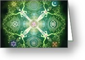 Spiral Greeting Cards - Numinosity Mandala Greeting Card by Cristina McAllister