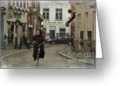 Cobblestones Greeting Cards - Nun on a Bicycle in Bruges Greeting Card by Joan Carroll