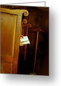Byzantine Icon Photo Greeting Cards - Nun reading the Bible in church Greeting Card by Emanuel Tanjala