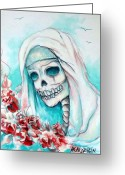 Catholic Church Painting Greeting Cards - Nun with Flowers Greeting Card by Heather Calderon
