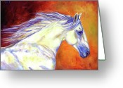Equines Painting Greeting Cards - Nuno in the Wind Greeting Card by Diane Williams