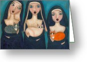 Nun Greeting Cards - Nuns and Their Cats Greeting Card by Ryan Conners