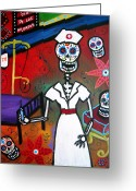 Turkus Greeting Cards - Nurse Dia De Los Muertos Greeting Card by Pristine Cartera Turkus