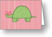 Child Digital Art Greeting Cards - Nursery Art Girls Turtle Greeting Card by Christy Beckwith