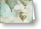 Baby Room Photo Greeting Cards - Nursery Mint Balloons Greeting Card by Andrea Hazel Ihlefeld