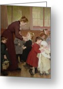 Schoolgirl Greeting Cards - Nursery school Greeting Card by Hneri Jules Jean Geoffroy