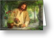 Feed Greeting Cards - Nurtured by the Word Greeting Card by Greg Olsen