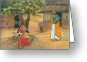 Mother And Child Greeting Cards - Nurturing Nature Greeting Card by Vidyut Singhal
