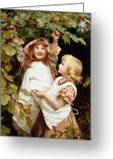 Blonde Girl Greeting Cards - Nutting Greeting Card by Frederick Morgan