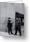 New York Cops Greeting Cards - NY Beat Cops Holding the Banana Republic Greeting Card by Lorraine Devon Wilke