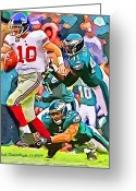 Eli Manning Greeting Cards - NY Giants Eli Manning Greeting Card by Jack Kurzenknabe
