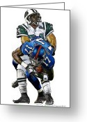 Ny Jets Greeting Cards - NY Giants Plaxico Burress - NY Jets Darrelle Revis Greeting Card by Jack Kurzenknabe