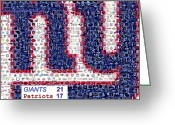 Ny Ny Greeting Cards - NY Giants Super Bowl Mosaic Greeting Card by Paul Van Scott
