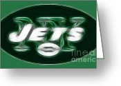 Green And White Greeting Cards - NY JETS fantasy Greeting Card by Paul Ward