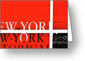 Urbano Greeting Cards - NYC Abstract in Red and Black Greeting Card by Anahi DeCanio