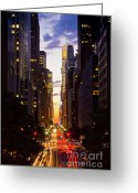 Manhattan Sunset Greeting Cards - NYC Across Avenues Greeting Card by Archana Doddi