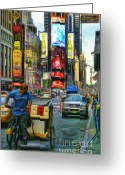 Billboards Greeting Cards - NYC Bike Taxi Greeting Card by Jeff Breiman