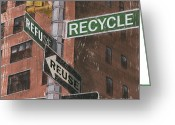 Old Painting Greeting Cards - NYC Broadway 1 Greeting Card by Debbie DeWitt