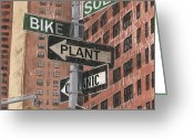 Green Painting Greeting Cards - NYC Broadway 2 Greeting Card by Debbie DeWitt