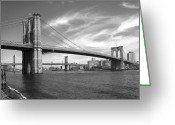 Cities Digital Art Greeting Cards - NYC Brooklyn Bridge Greeting Card by Mike McGlothlen