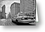 Long Street Greeting Cards - NYC Cab and Flat Iron Building black and white Greeting Card by John Farnan
