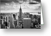 Black White Greeting Cards - NYC Downtown Greeting Card by Nina Papiorek