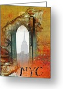 Graffiti Art For The Home Greeting Cards - NYC Empire State Art Abstract Greeting Card by Anahi DeCanio