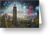Fireworks Painting Greeting Cards - Nyc. Empire State Building Greeting Card by Ylli Haruni