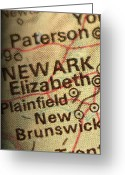 New York City Map Greeting Cards - NYC ENLARGED - LEFT Panel of 3 Greeting Card by ELITE IMAGE photography By Chad McDermott