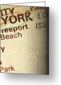 New York City Map Greeting Cards - NYC ENLARGED - RIGHT Panel of 3 Greeting Card by ELITE IMAGE photography By Chad McDermott