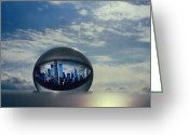 Cities Glass Art Greeting Cards - NYC Eye In The Sky Greeting Card by Etti Palitz