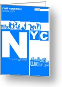 Manhattan Digital Art Greeting Cards - NYC Find yourself in the city Greeting Card by Irina  March
