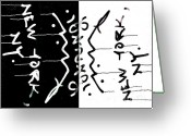 Nyc Graffiti Greeting Cards - NYC Graffiti Abstract in Black and White Greeting Card by Anahi DeCanio