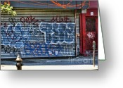 Nyc Graffiti Greeting Cards - NYC Graffiti Greeting Card by Chuck Kuhn
