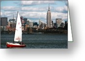 New York New York Com Greeting Cards - NYC Harbor View Greeting Card by John Rizzuto