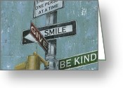 Street Light Greeting Cards - NYC Inspiration 1 Greeting Card by Debbie DeWitt