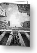 The Capital Of The World Greeting Cards - NYC Looking Up BW16 Greeting Card by Scott Kelley