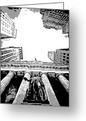 The Capital Of The World Greeting Cards - NYC Looking Up BW3 Greeting Card by Scott Kelley
