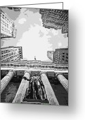 The Capital Of The World Greeting Cards - NYC Looking Up BW6 Greeting Card by Scott Kelley