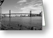 White Digital Art Greeting Cards - NYC Manhattan Bridge Greeting Card by Mike McGlothlen